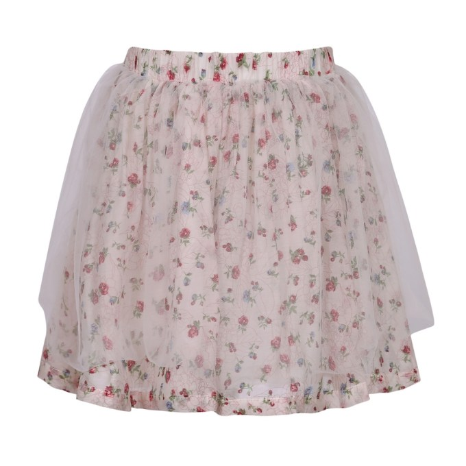Floral Skirt with Mesh Covered