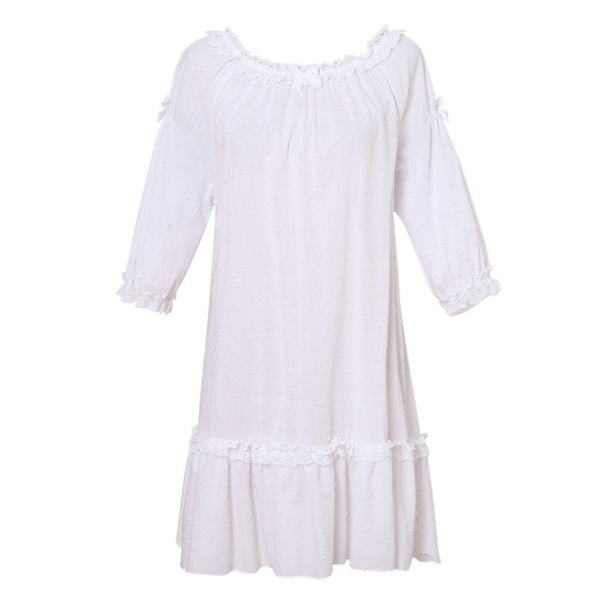 White Cotton Dress Pajama Sleepwear