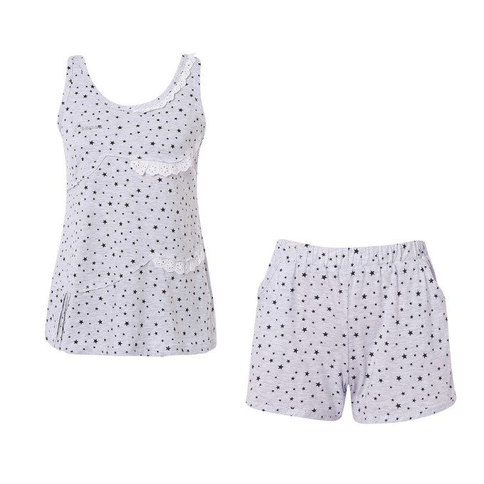 Summer Knit Cotton Two-piece Pajama Sleepwear