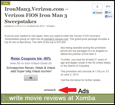 write movie reviewsat xomba