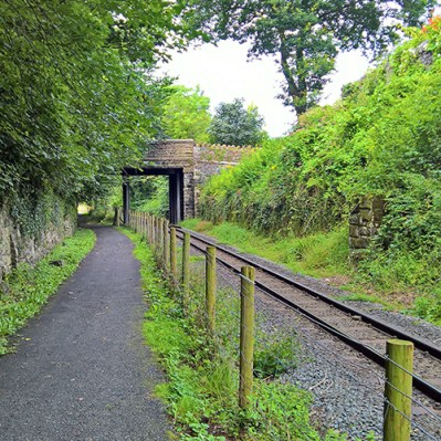 Rail and Cycle path side by side