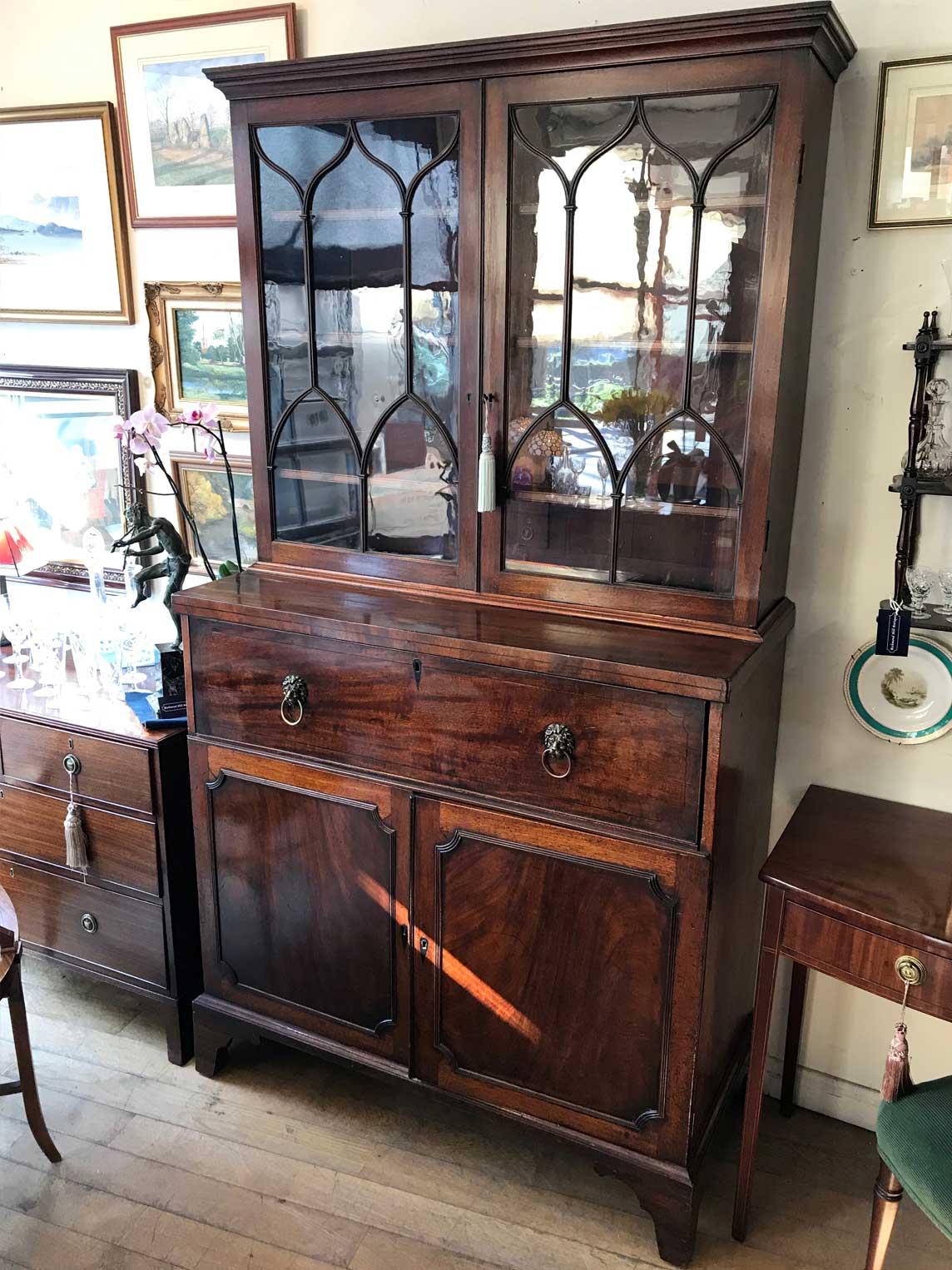 18th Century Georgian Mahogany Secretaire Bookcase Cupboard Richmond Hill Antiques