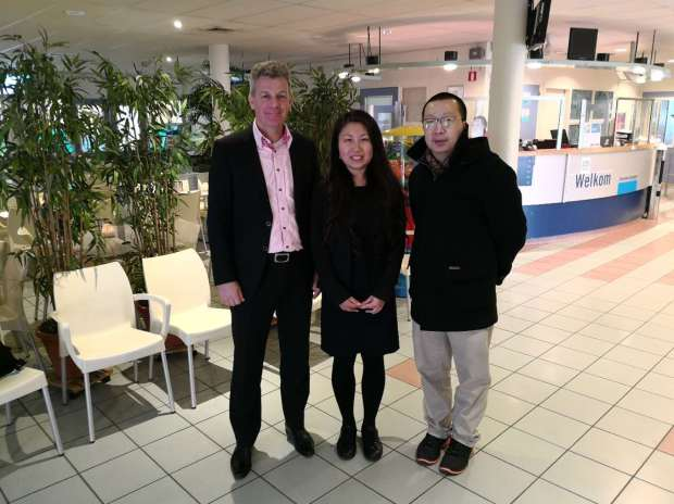 From right to left: Mr. Liu (CCTV), Sabrine Ding and Richard in the office of the Dutch Ice Hockey Federation