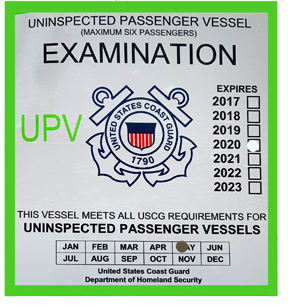RTF Saltwater Fishing Charters Boat Inspection Certificate