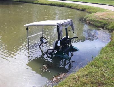 That 'your car is not a boat' thing we've been stressing? It applies to golf carts, too.