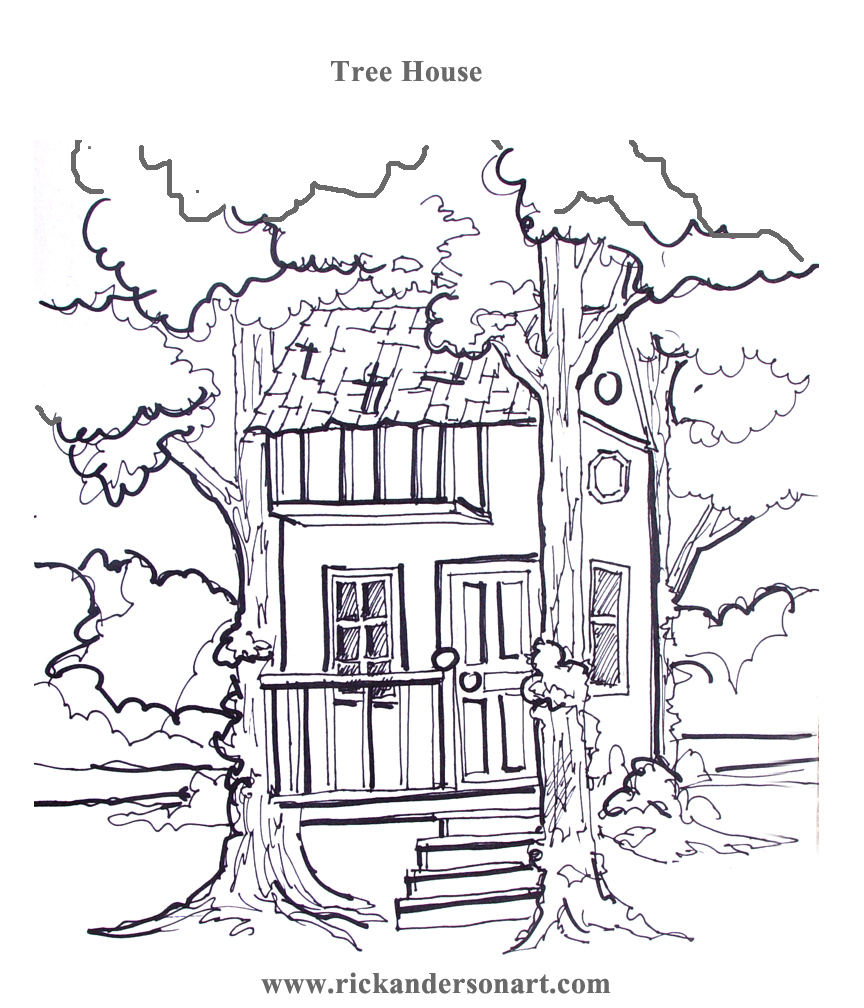 tree house colouring pages page 2