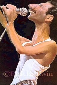 Freddie Mercury caricature by Rick Baldwin