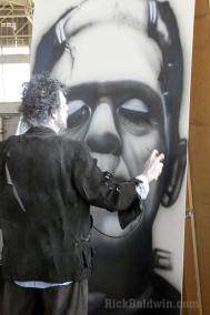 Painting Frankenstein's monster mural