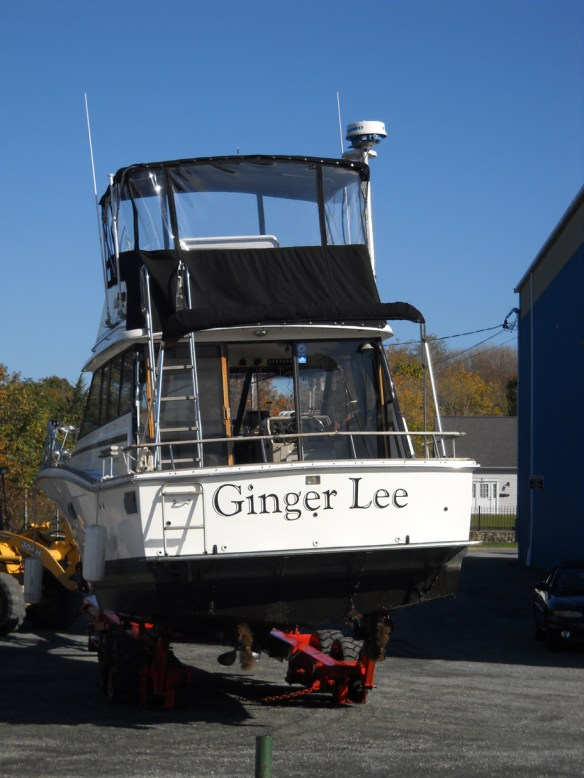 Ginger Lee out of the water for the winter