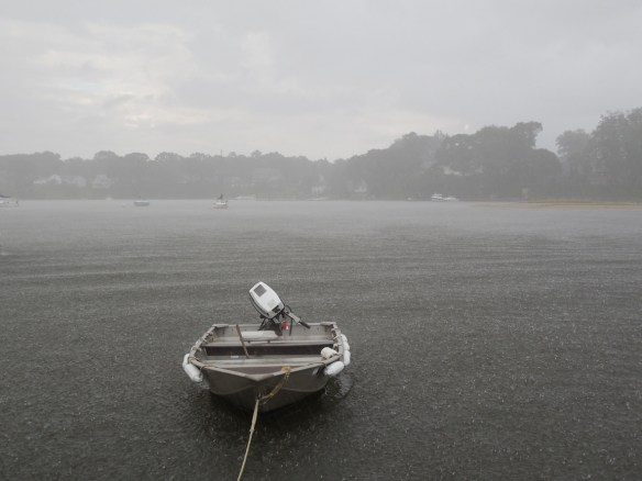 Our cold and wet, hard working dinghy.