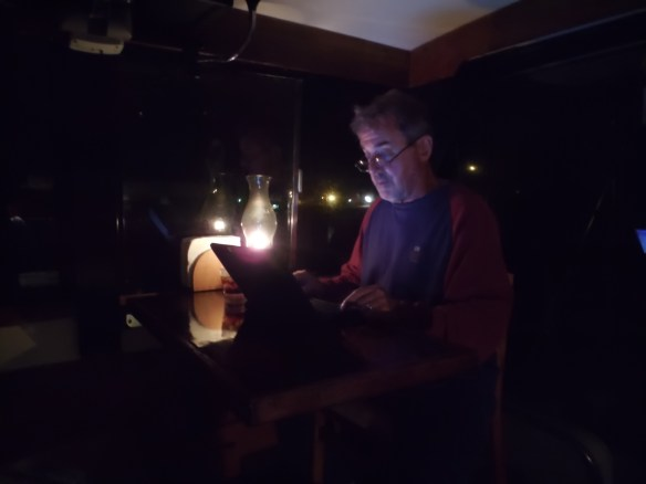 Writing by lamplight.