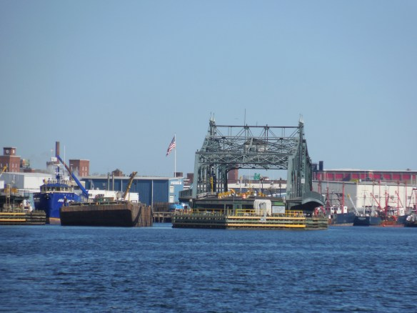Huge barge coming through the swing bridge right after us,