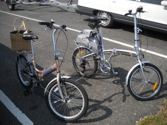 Bikes unfolded.