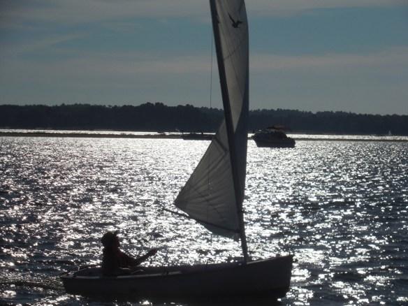 Susan sails Windsey off Long Beach.