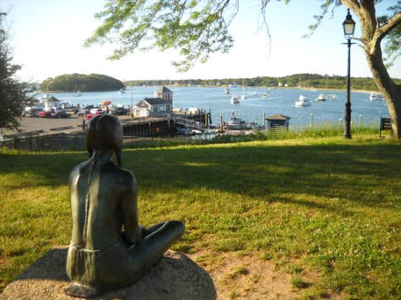 A statue of an Indian Maiden watches over beautiful Onset Bay.