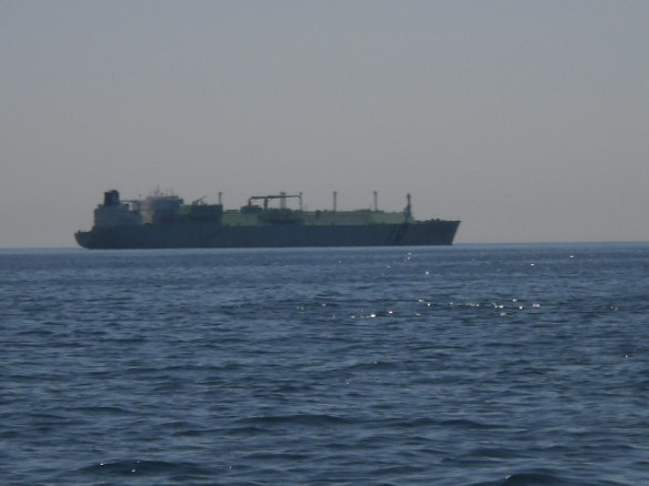 A large freighter anchored in the Precautionary Area. From the radio, we gather that it's waiting for a pilot to guide it into the city, and the pilot boat is very late.