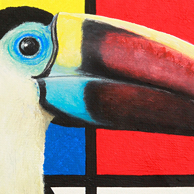 Painting called Compositie met Roodsnaveltoekan, from the Berserk Birds series. Toucan sitting in front of Mondriaan painting. Made by Rick van den Berg.