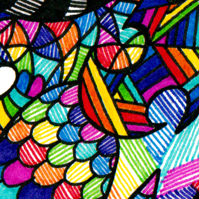 Detail of colorful drawing called I can get Satisfaction, made by Veerle Ritstier.