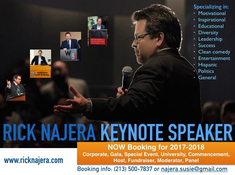 Rick Najera to Speak at JFK University, more for Hispanic Heritage Month, Now Booking
