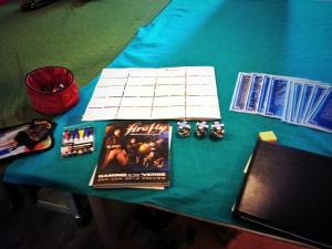 All set for the Firefly RPG demo at Imagine Games and Hobbies.