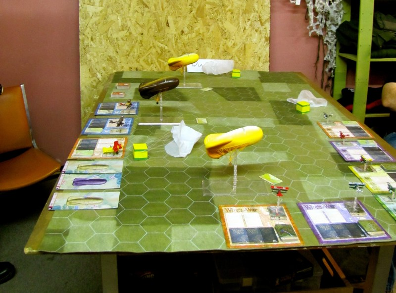 A Wings of War game, with airships and - I believe - Snoopy.