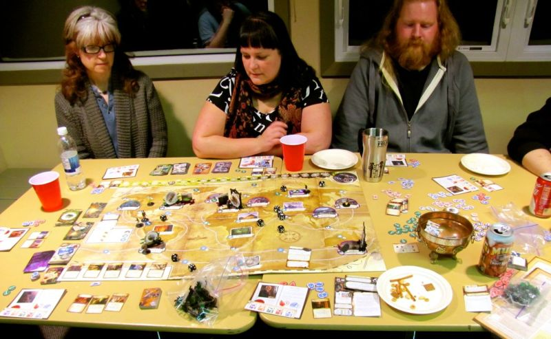 We got a chance to try out Eldritch Horror, too. It was van, but not a quick game. Eight players, all of us just learning the rules, made things drag a bit.