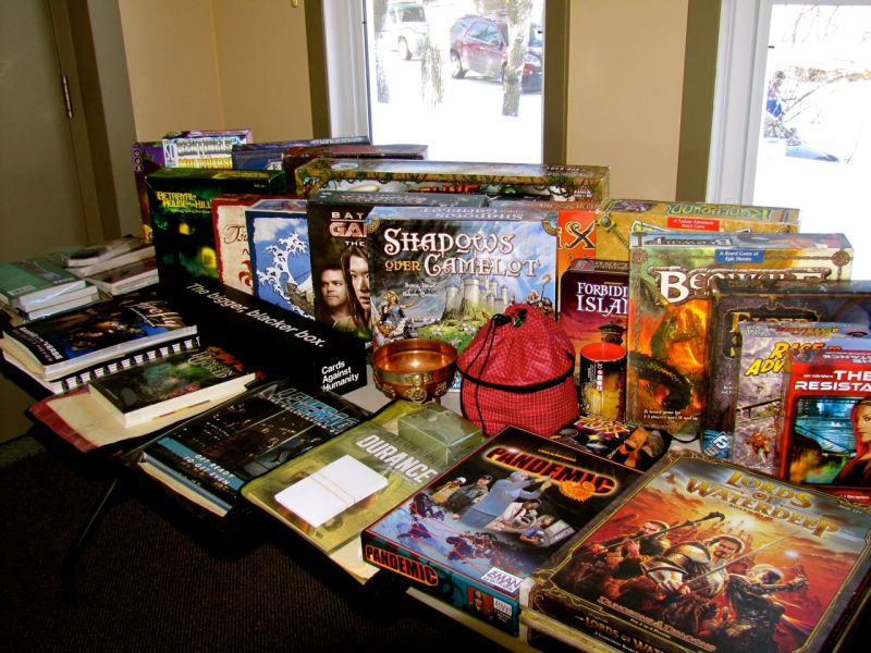 First thing to set up, of course, is the table of games. There are a total of 31 games on the table. Some other folks brought a few games later on, and the game table expanded to two tables.