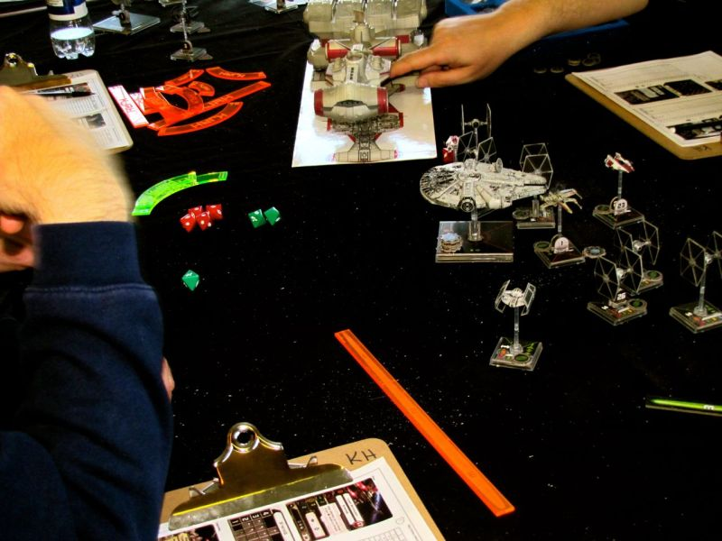 Dave and Kevin came by with the X-Wing set-up they use at conventions. It looked like a good game.