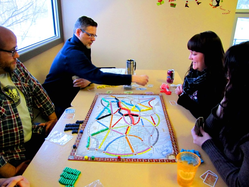 Paul, Michael, Tania, and Lindsey playing Ticket to Ride