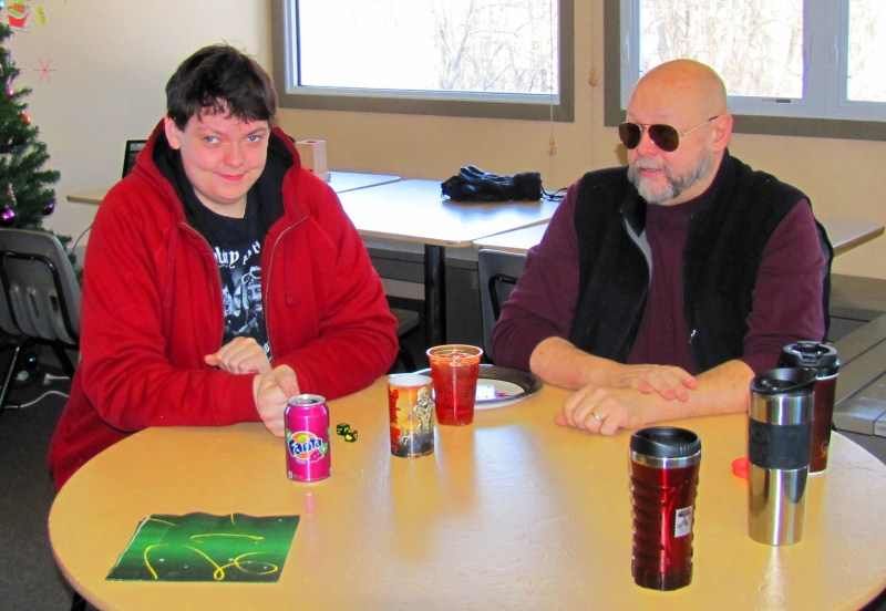 Tom and Clint playing Zombie Dice