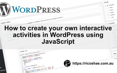 Adding JavaScript activities to WordPress