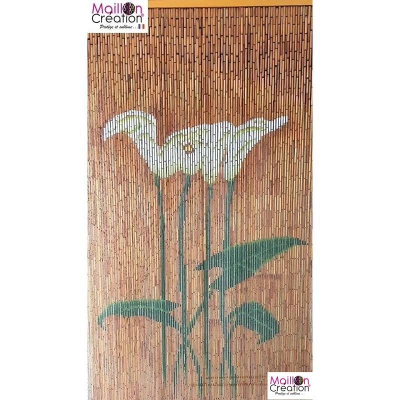 rideau bambou 90x200 fleurs d arum