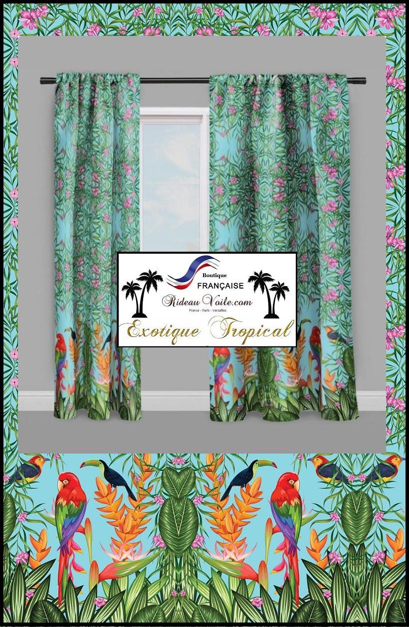 rideau tissu motif tropical exotique imprime rideaux et tissus ameublement