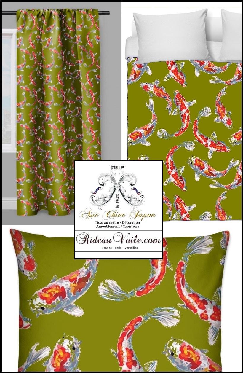 tissus motifs poissons carpes koi rideaux et tissus ameublement