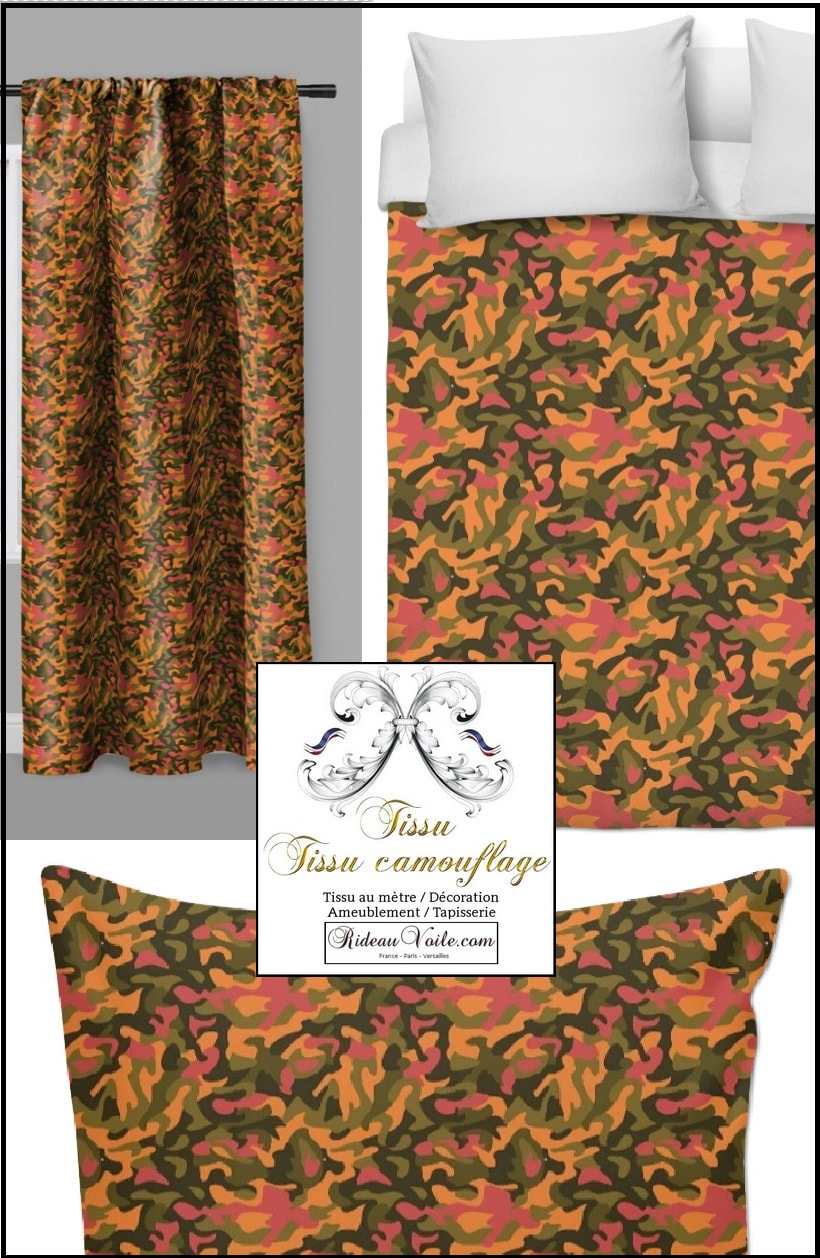rideau motif tissu camouflage rideaux