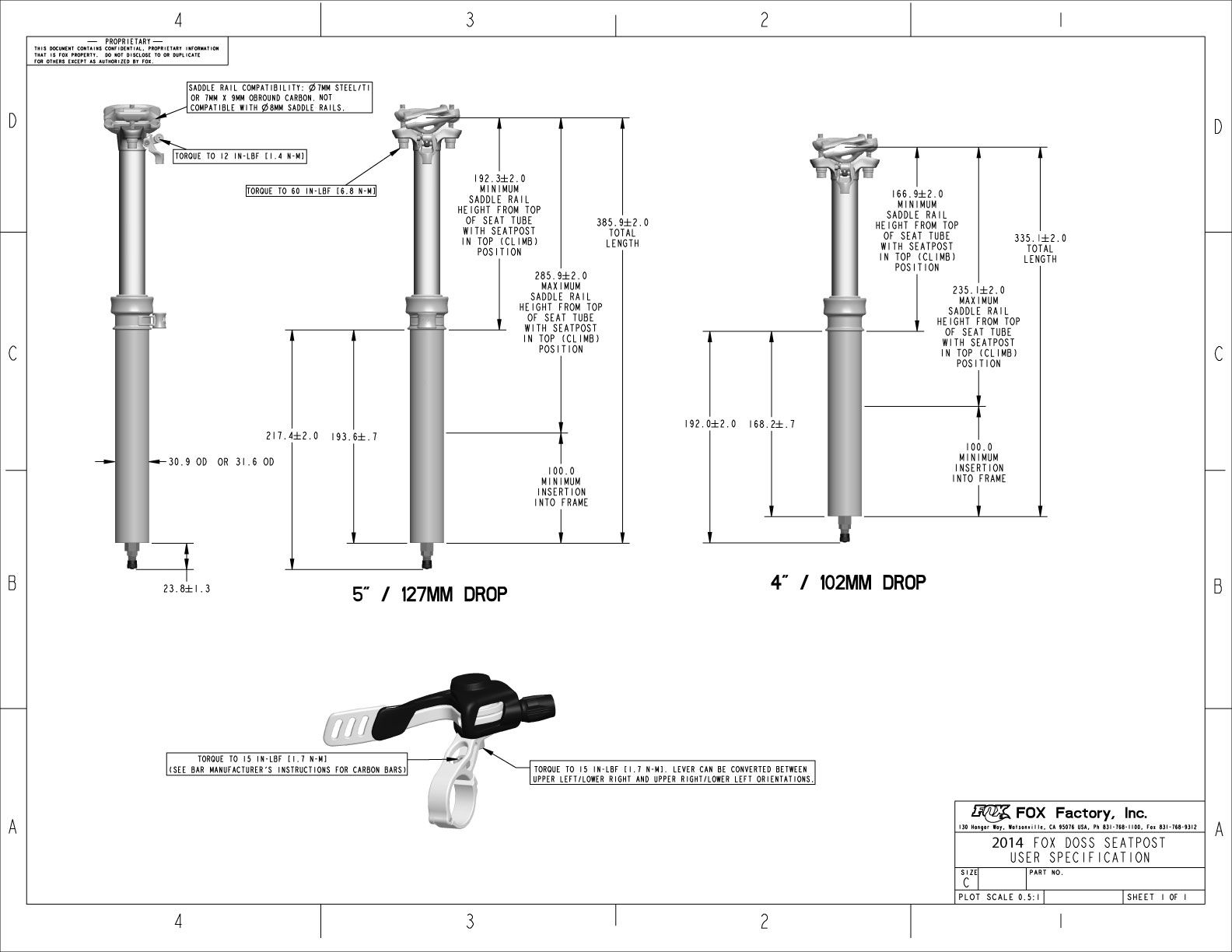 Doss Adjustable Height Seatpost User Specifications