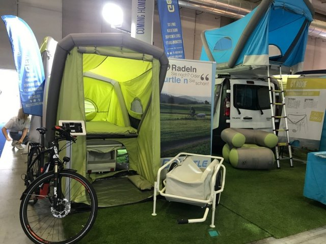 Travel with bicycle inflatable tent trolley