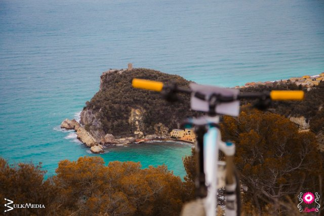 Cycling in the winter in mountain biking at finale Ligure