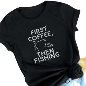 First Coffee, Then Fishing Cotton Adult Unisex Tee