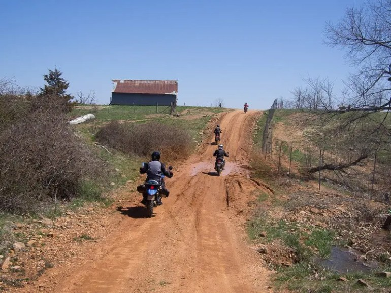 Riding dirt roads in Arkansas.