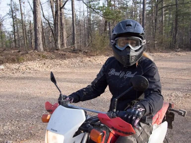 Kay Pratt on her Honda CRF-230L