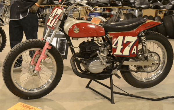 This 1974 Bultaco Model 123  flat track race bike is unrestored and just like it came off the racetrack.
