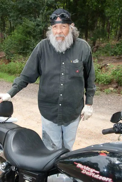 An old biker we met at the Crooked Branch Saloon in eastern Oklahoma.