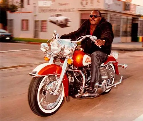 Tommy Bolton on a Harley in Los Angeles circa 1984