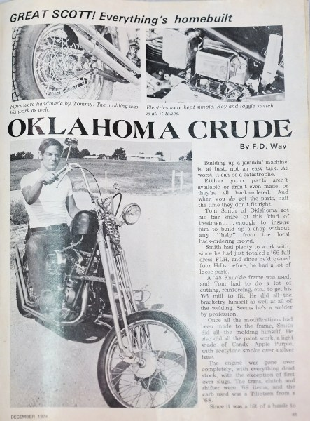 "Tommy Smith was featured in ""Chopper"" magazine in 1974."