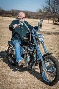 Tommy Smith on his customized Harley Davidson.