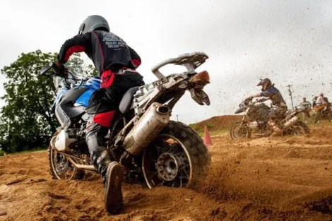 Bill Dragoo launching out of  deep sand at the 2008 BMW GS Trophy competition in Spartanburg, SC.