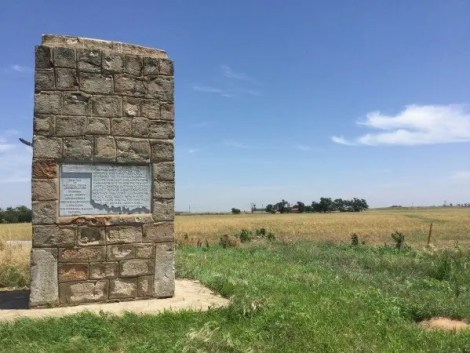 This cowboy gravestone south of Jefferson, Oklahoma is on the Oklahoma Adventure Trail - OAT - and marks the spot where two cowboys were killed.