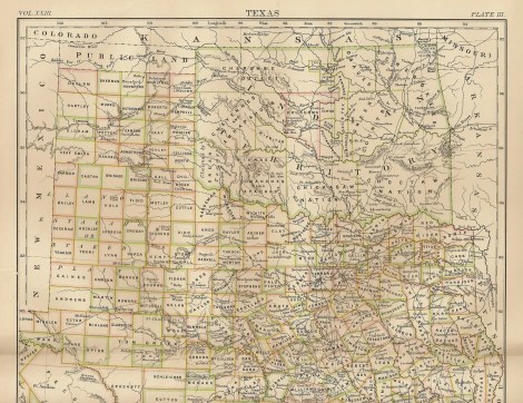 Oklahoma map from 1885 when still Indian Territory
