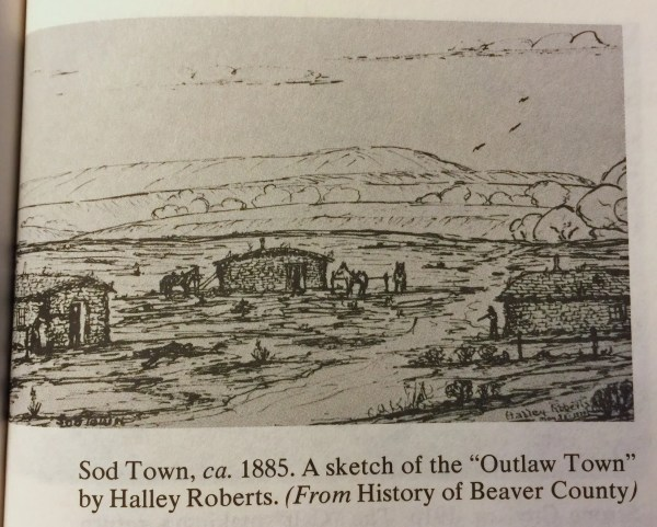 """Sod Town, ca. 1885. A sketch of the """"Outlaw Town"""" by Halley Roberts. (From History of Beaver County)"""